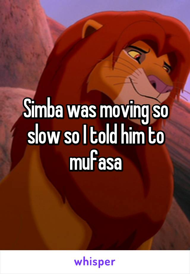 Simba was moving so slow so I told him to mufasa