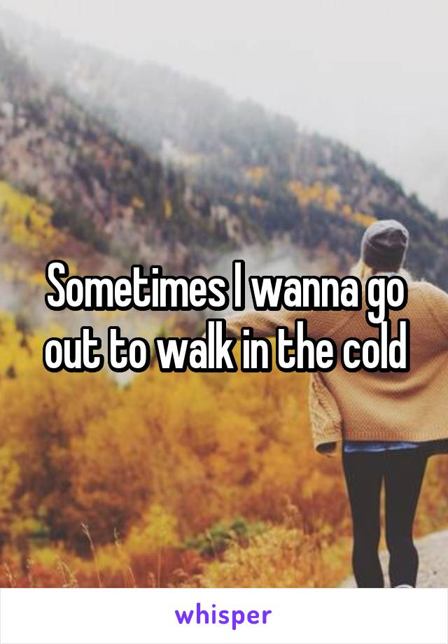 Sometimes I wanna go out to walk in the cold
