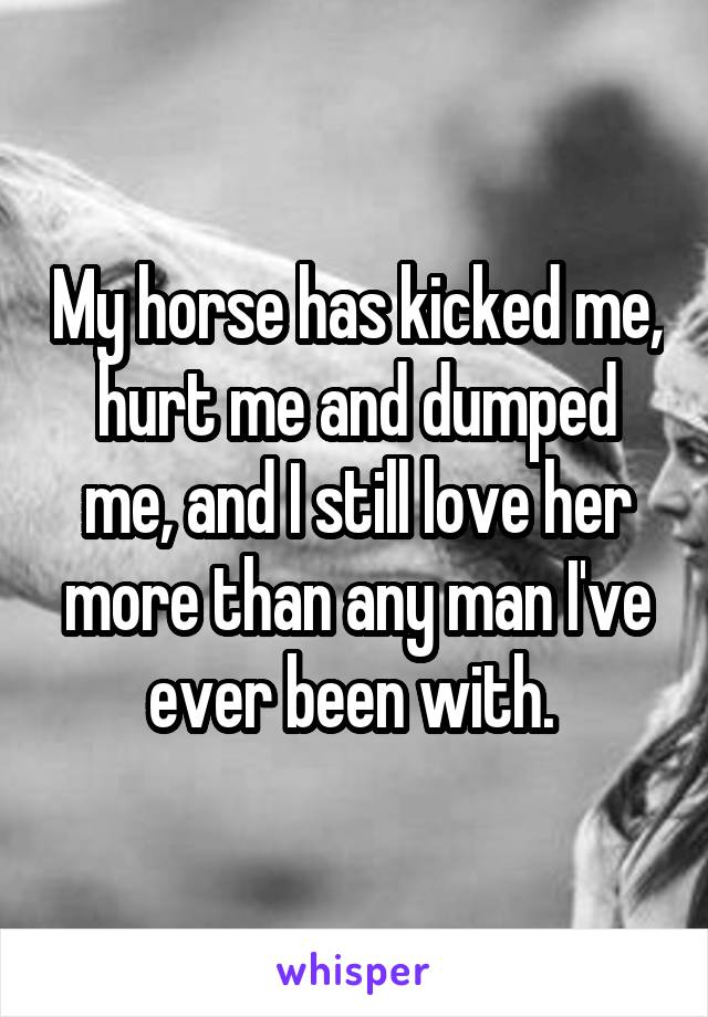 My horse has kicked me, hurt me and dumped me, and I still love her more than any man I've ever been with.