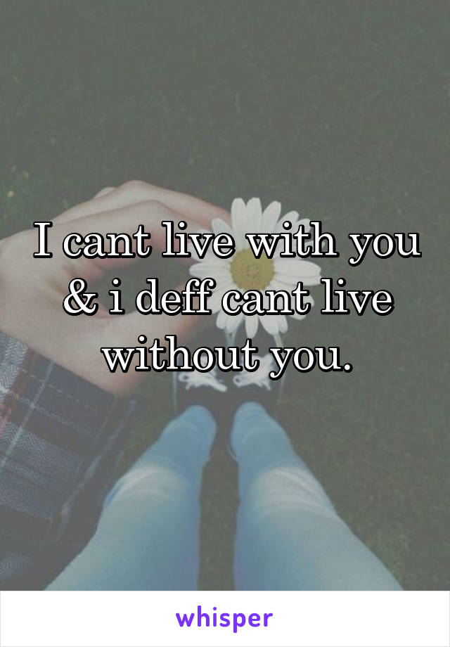I cant live with you & i deff cant live without you.