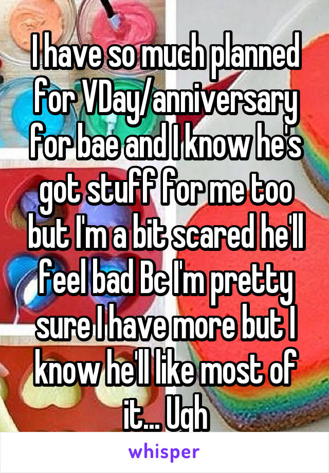 I have so much planned for VDay/anniversary for bae and I know he's got stuff for me too but I'm a bit scared he'll feel bad Bc I'm pretty sure I have more but I know he'll like most of it... Ugh