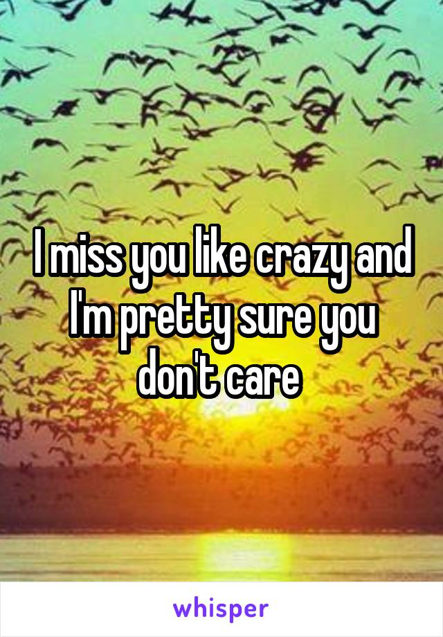 I miss you like crazy and I'm pretty sure you don't care