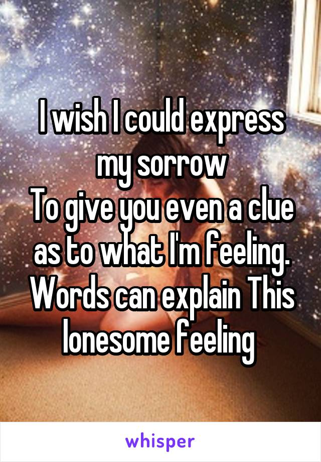 I wish I could express my sorrow To give you even a clue as to what I'm feeling. Words can explain This lonesome feeling