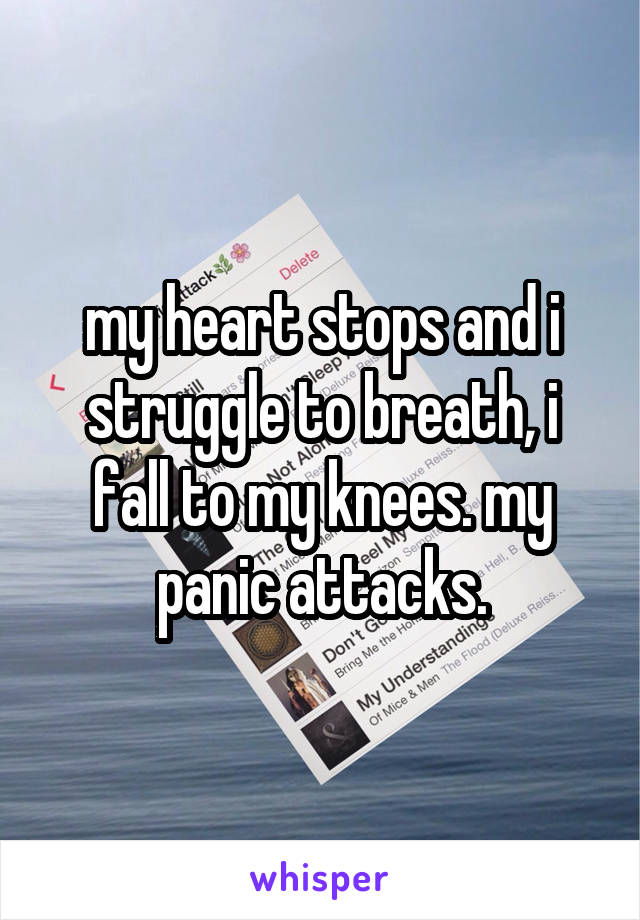 my heart stops and i struggle to breath, i fall to my knees. my panic attacks.