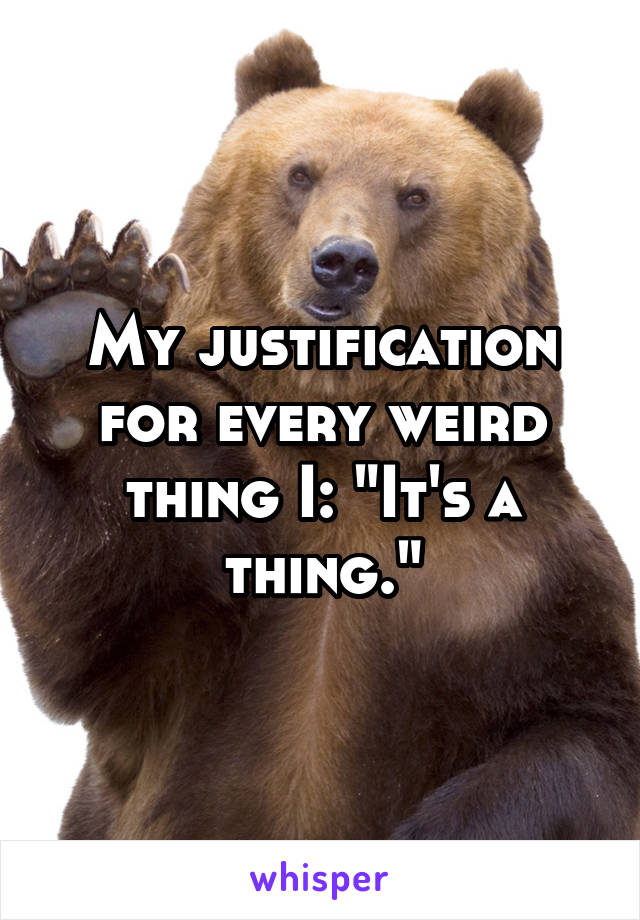 """My justification for every weird thing I: """"It's a thing."""""""