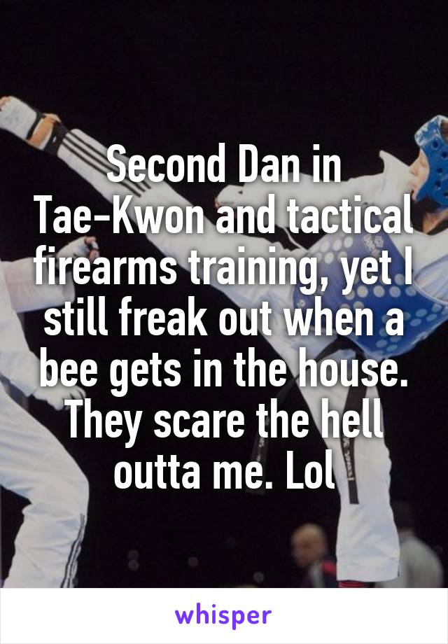 Second Dan in Tae-Kwon and tactical firearms training, yet I still freak out when a bee gets in the house. They scare the hell outta me. Lol