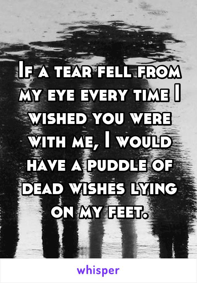If a tear fell from my eye every time I wished you were with me, I would have a puddle of dead wishes lying on my feet.