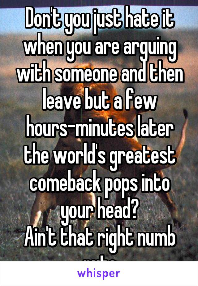 Don't you just hate it when you are arguing with someone and then leave but a few hours-minutes later the world's greatest comeback pops into your head? Ain't that right numb nuts