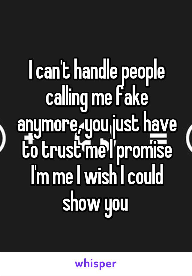 I can't handle people calling me fake anymore, you just have to trust me I promise I'm me I wish I could show you