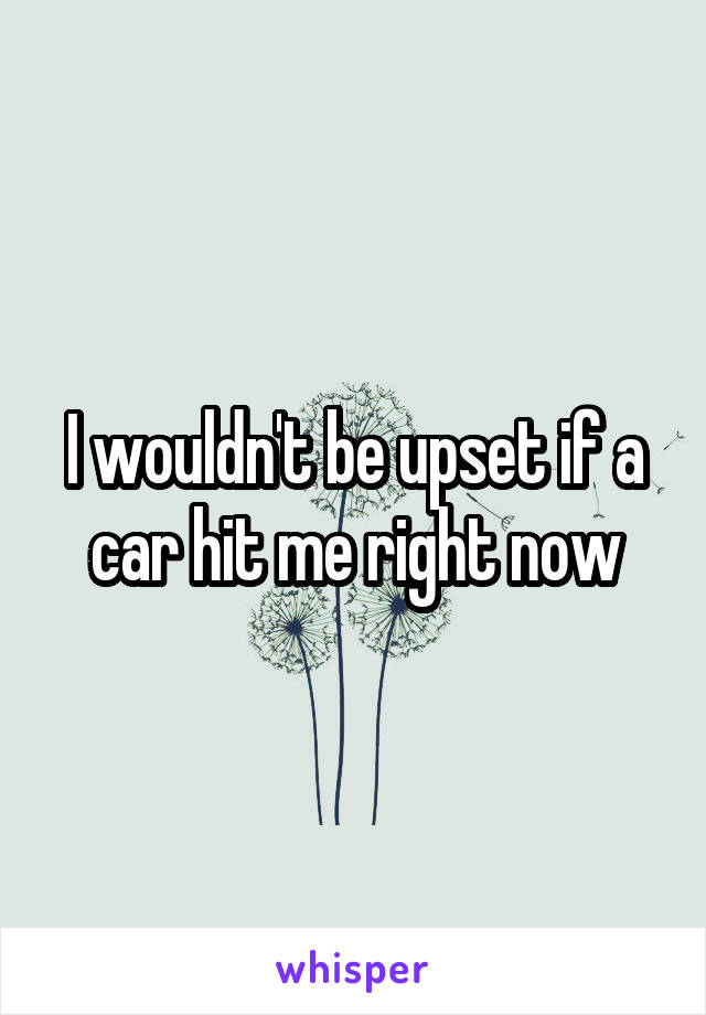 I wouldn't be upset if a car hit me right now