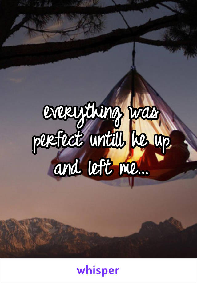 everything was perfect untill he up and left me...