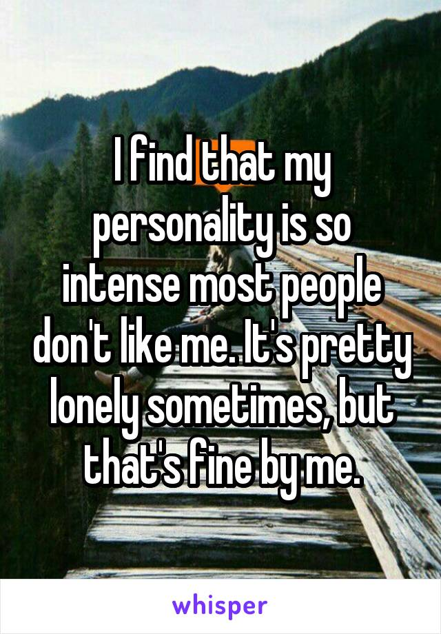 I find that my personality is so intense most people don't like me. It's pretty lonely sometimes, but that's fine by me.