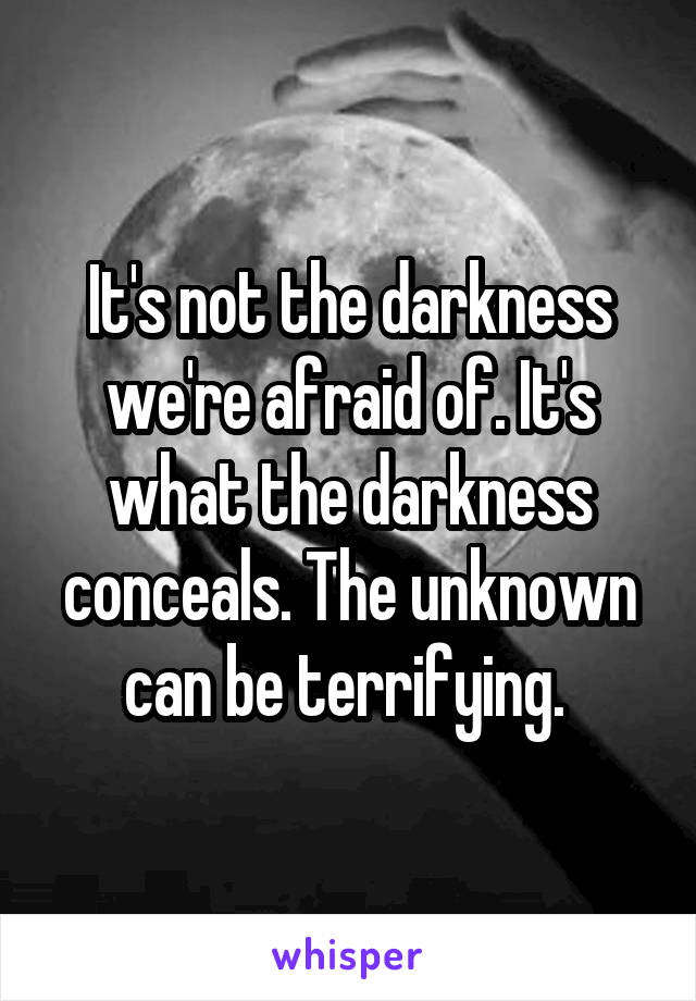 It's not the darkness we're afraid of. It's what the darkness conceals. The unknown can be terrifying.