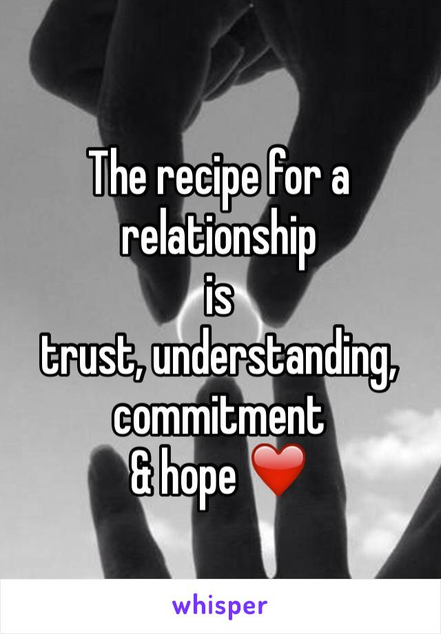 The recipe for a relationship is  trust, understanding, commitment & hope ❤️