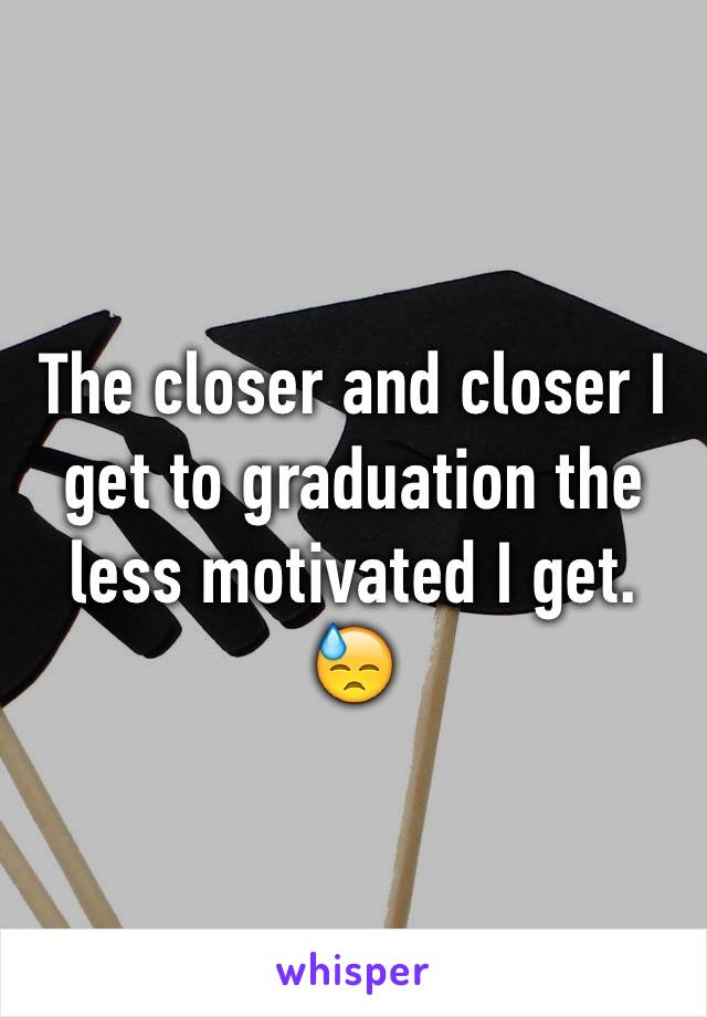 The closer and closer I get to graduation the less motivated I get. 😓