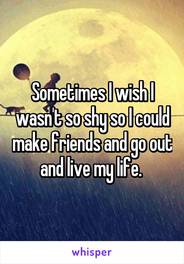 Sometimes I wish I wasn't so shy so I could make friends and go out and live my life.