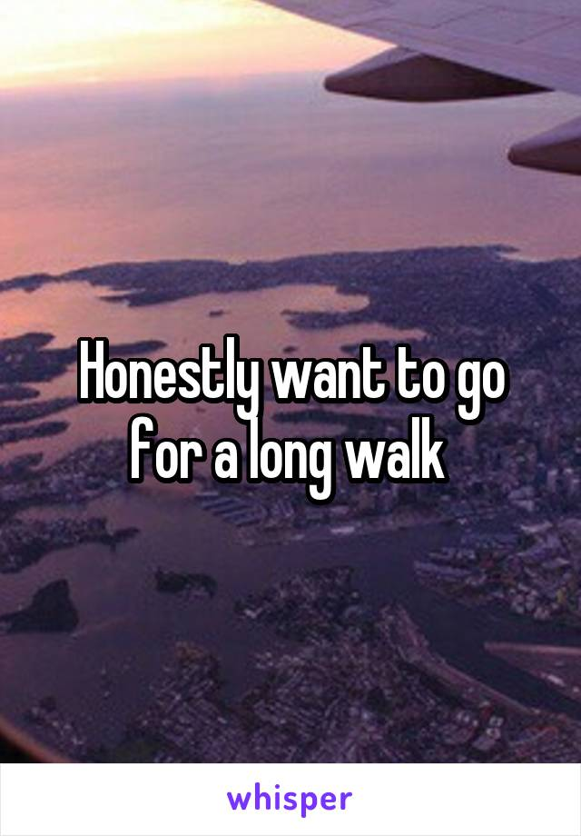 Honestly want to go for a long walk