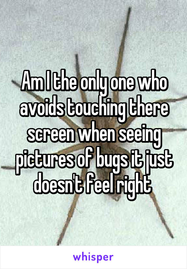 Am I the only one who avoids touching there screen when seeing pictures of bugs it just doesn't feel right