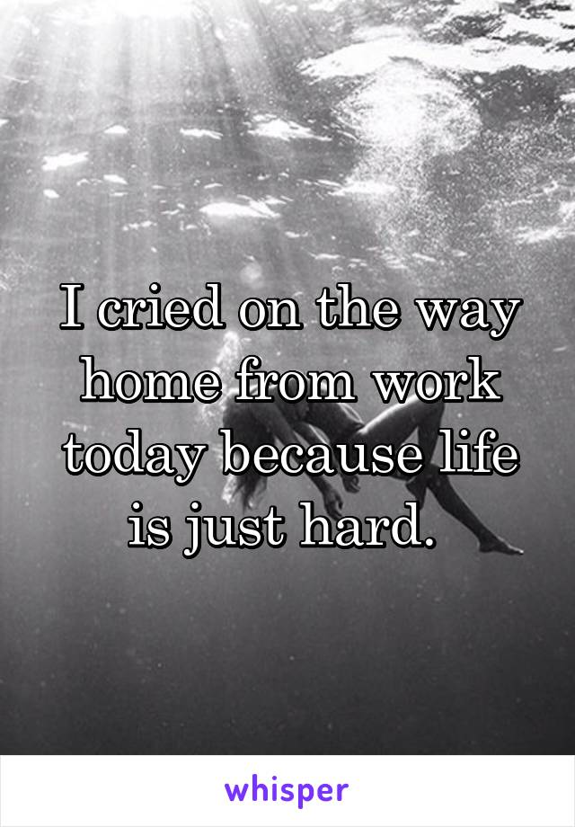 I cried on the way home from work today because life is just hard.