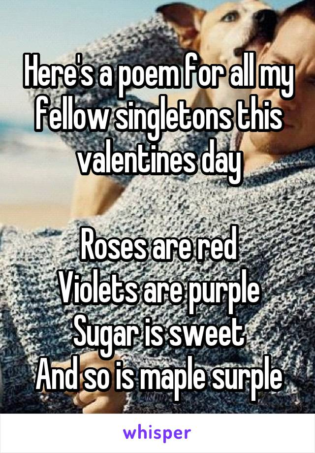 Here's a poem for all my fellow singletons this valentines day  Roses are red Violets are purple Sugar is sweet And so is maple surple