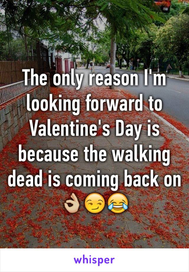 The only reason I'm looking forward to Valentine's Day is because the walking dead is coming back on 👌🏼😏😂