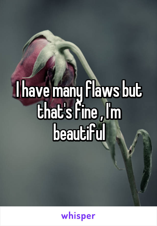 I have many flaws but that's fine , I'm beautiful