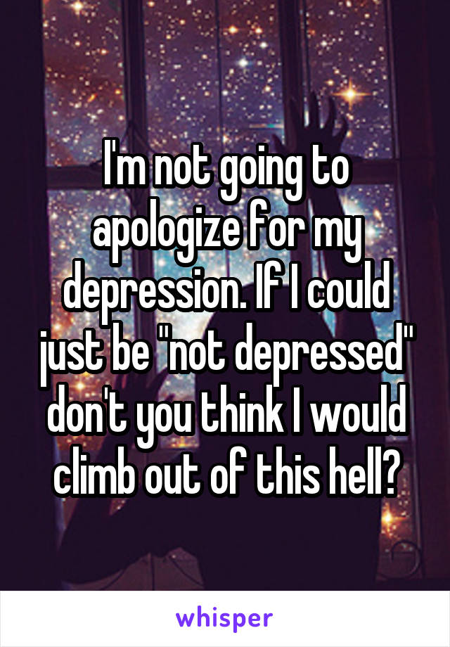"""I'm not going to apologize for my depression. If I could just be """"not depressed"""" don't you think I would climb out of this hell?"""