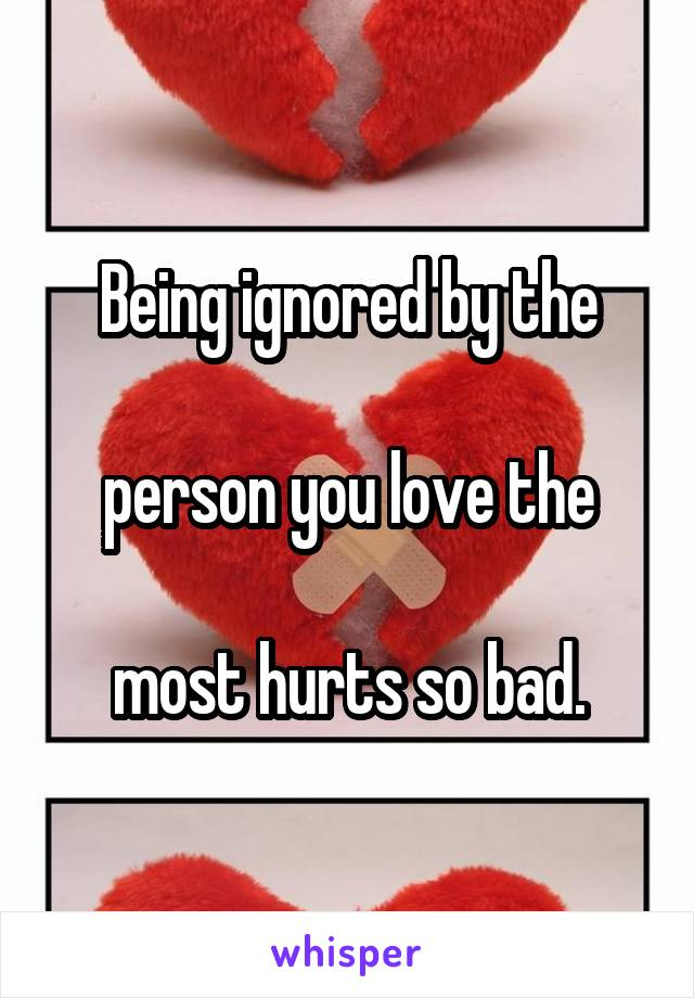 Being ignored by the   person you love the   most hurts so bad.