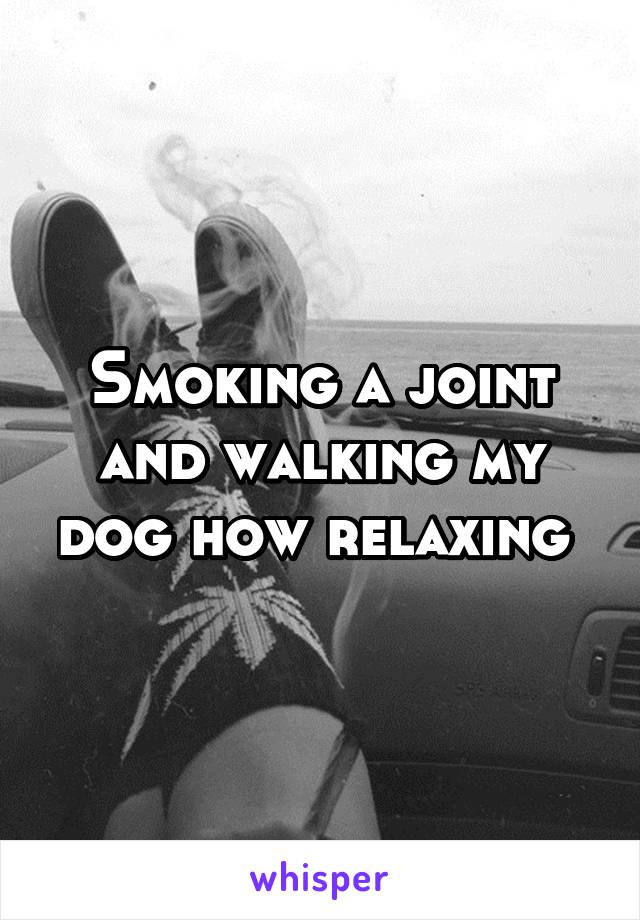 Smoking a joint and walking my dog how relaxing