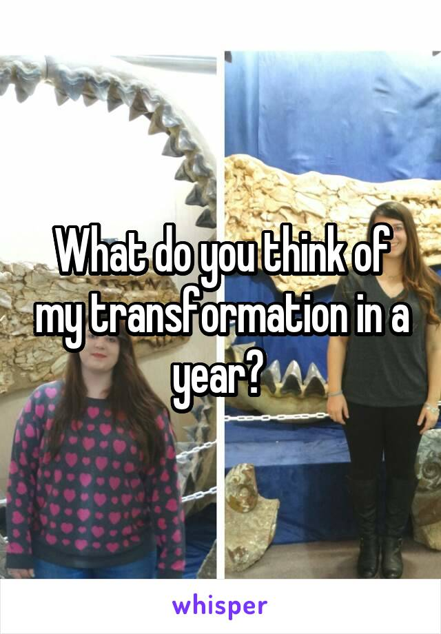 What do you think of my transformation in a year?