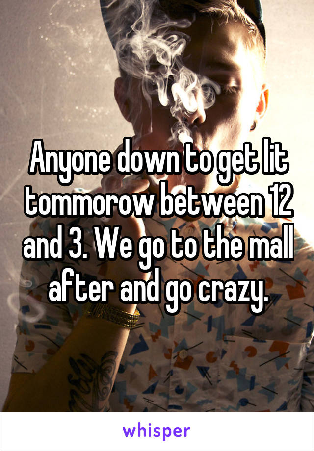 Anyone down to get lit tommorow between 12 and 3. We go to the mall after and go crazy.