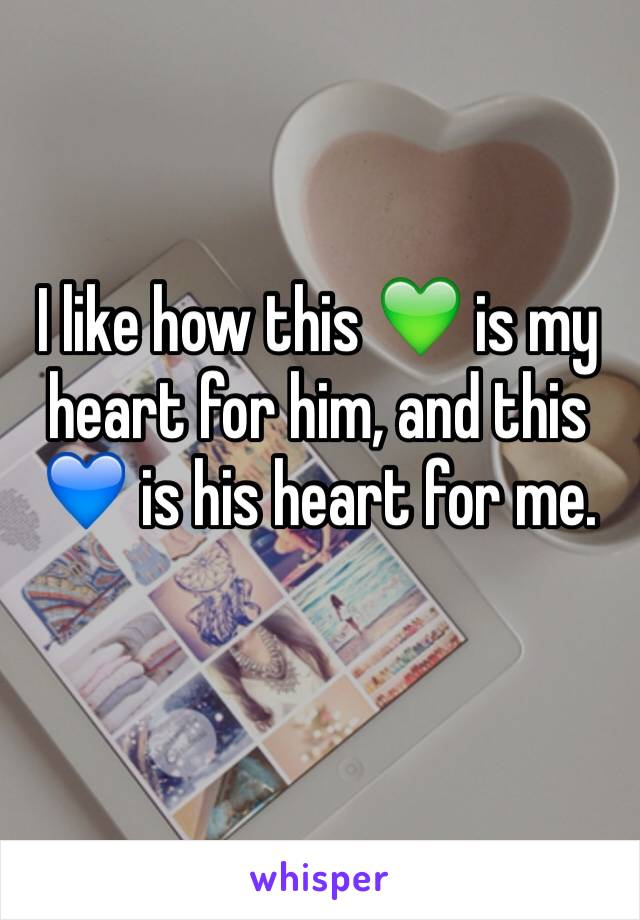 I like how this 💚 is my heart for him, and this 💙 is his heart for me.