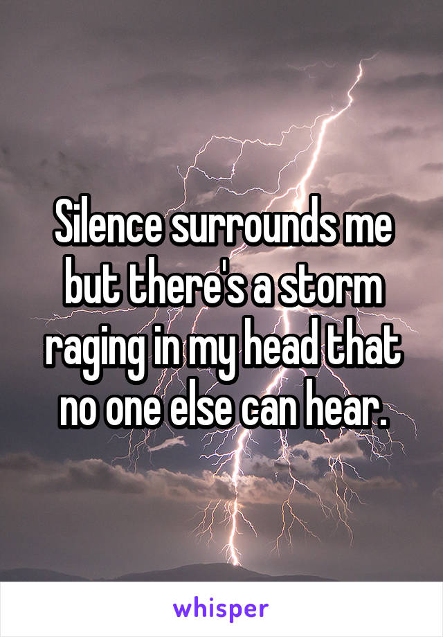 Silence surrounds me but there's a storm raging in my head that no one else can hear.