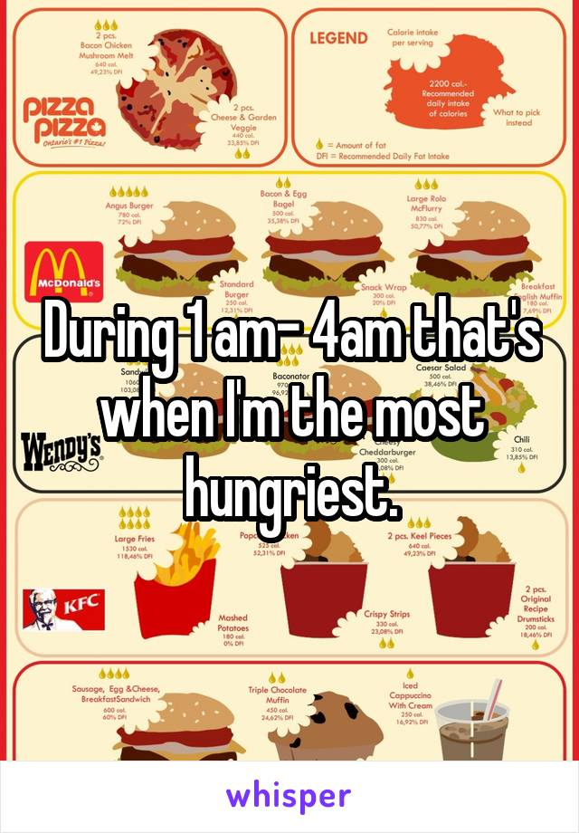 During 1 am- 4am that's when I'm the most hungriest.