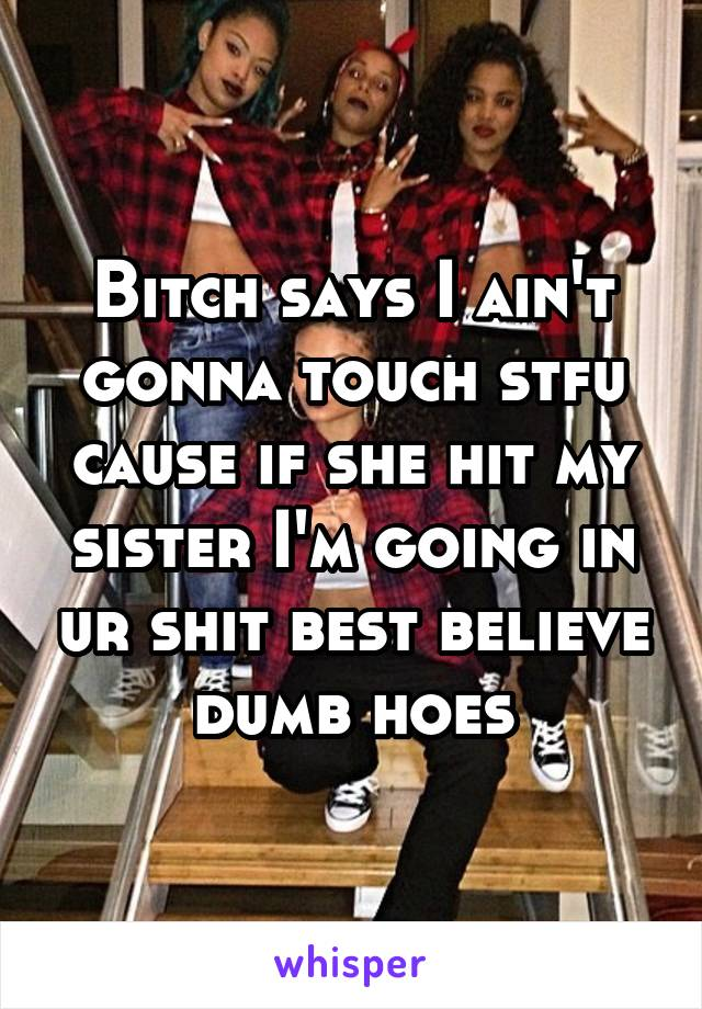 Bitch says I ain't gonna touch stfu cause if she hit my sister I'm going in ur shit best believe dumb hoes