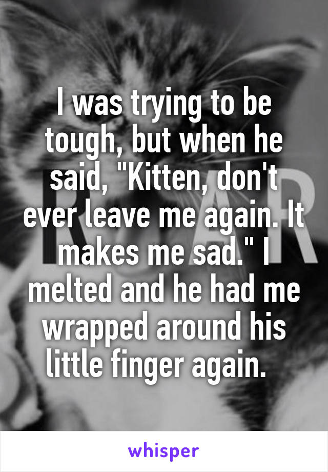 """I was trying to be tough, but when he said, """"Kitten, don't ever leave me again. It makes me sad."""" I melted and he had me wrapped around his little finger again."""