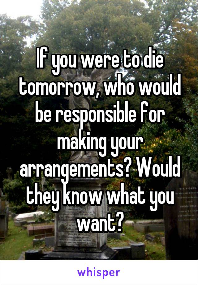 If you were to die tomorrow, who would be responsible for making your arrangements? Would they know what you want?