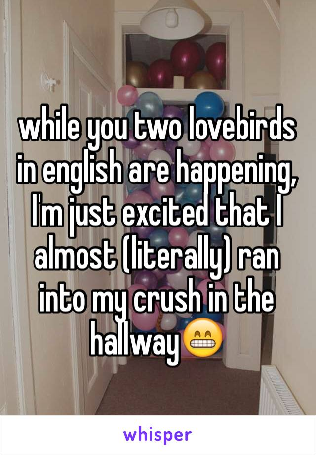 while you two lovebirds in english are happening, I'm just excited that I almost (literally) ran into my crush in the hallway😁