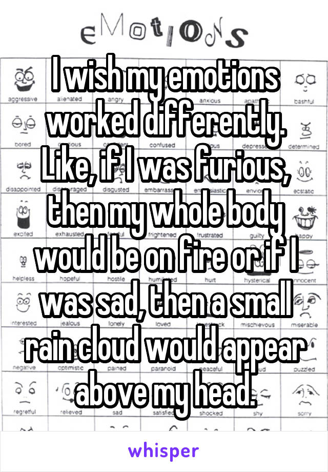 I wish my emotions worked differently. Like, if I was furious, then my whole body would be on fire or if I was sad, then a small rain cloud would appear above my head.