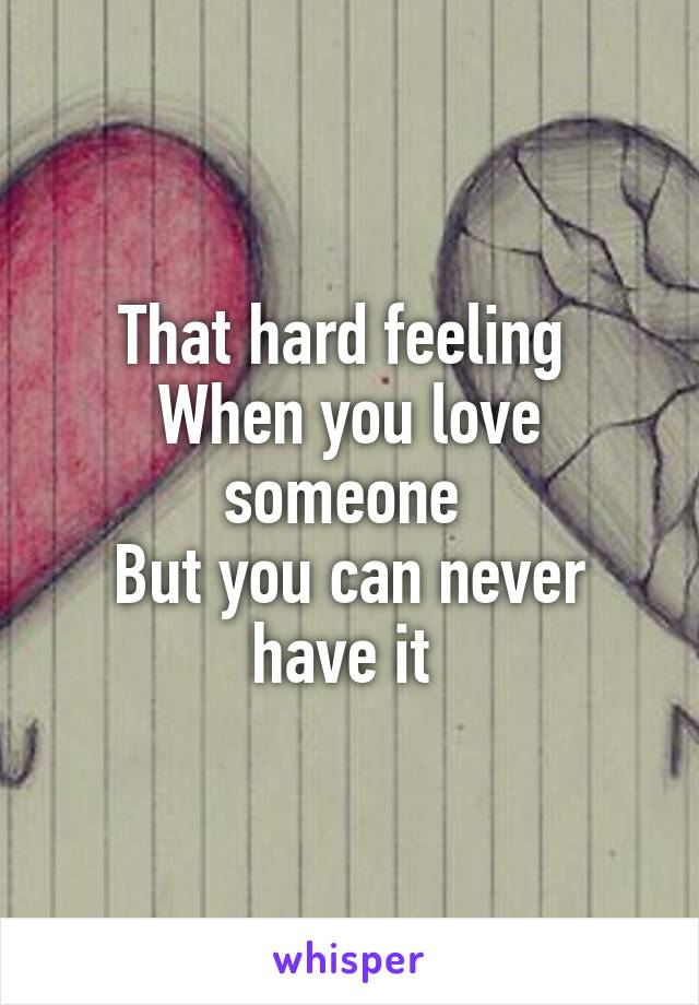 That hard feeling  When you love someone  But you can never have it
