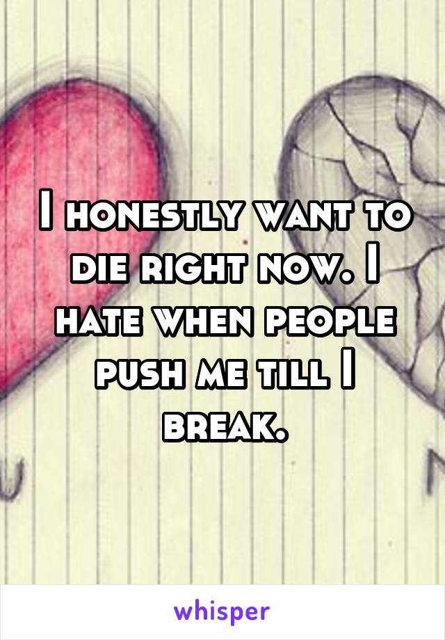 I honestly want to die right now. I hate when people push me till I break.