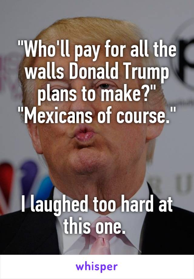 """Who'll pay for all the walls Donald Trump plans to make?"" ""Mexicans of course.""    I laughed too hard at this one."