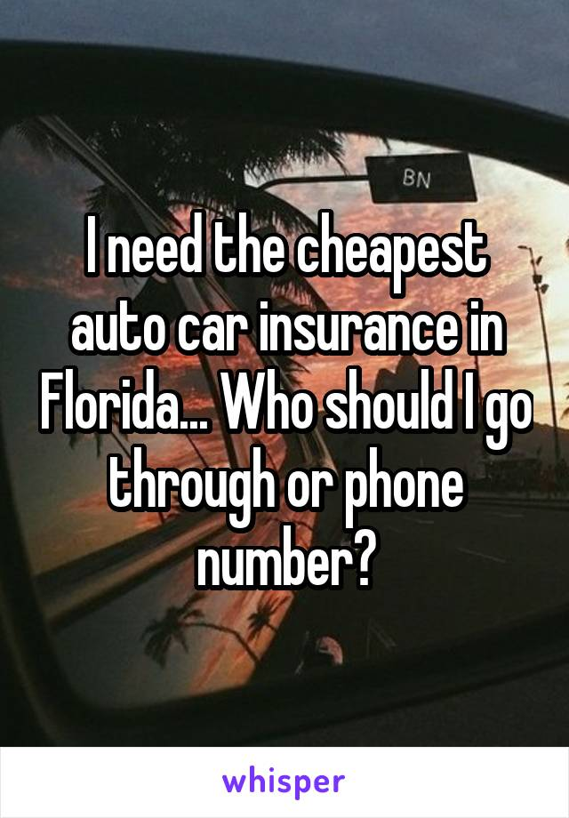 I need the cheapest auto car insurance in Florida... Who should I go through or phone number?