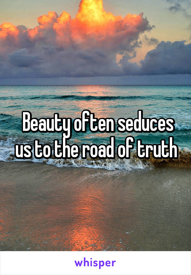 Beauty often seduces us to the road of truth