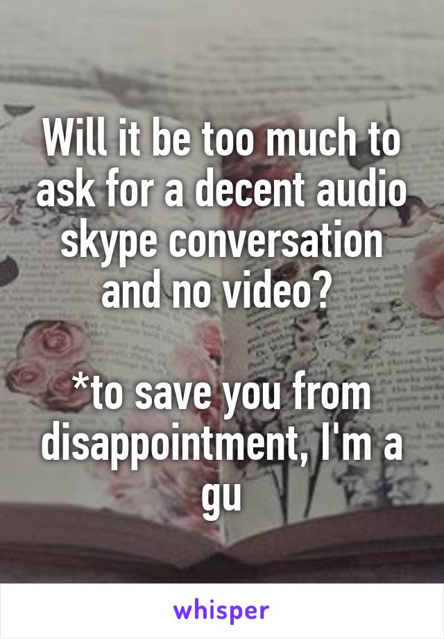 Will it be too much to ask for a decent audio skype conversation and no video?   *to save you from disappointment, I'm a gu