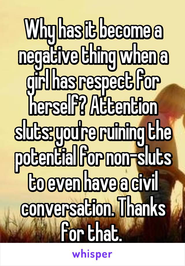 Why has it become a negative thing when a girl has respect for herself? Attention sluts: you're ruining the potential for non-sluts to even have a civil conversation. Thanks for that.