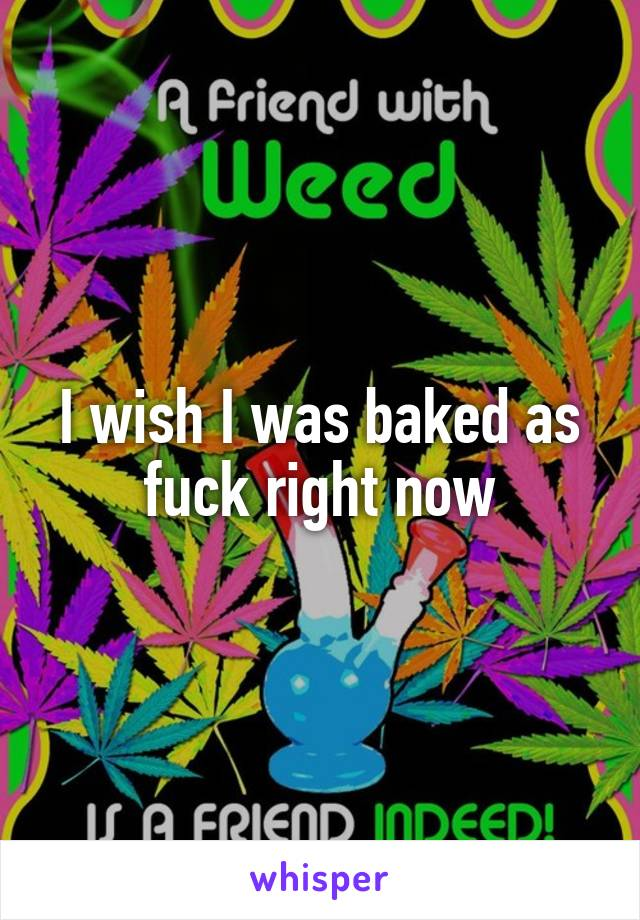 I wish I was baked as fuck right now
