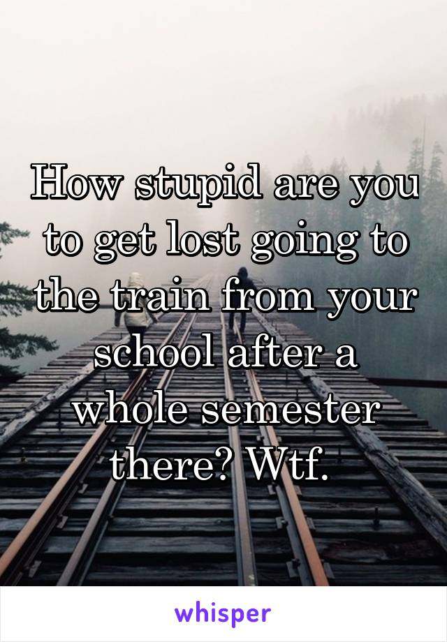 How stupid are you to get lost going to the train from your school after a whole semester there? Wtf.
