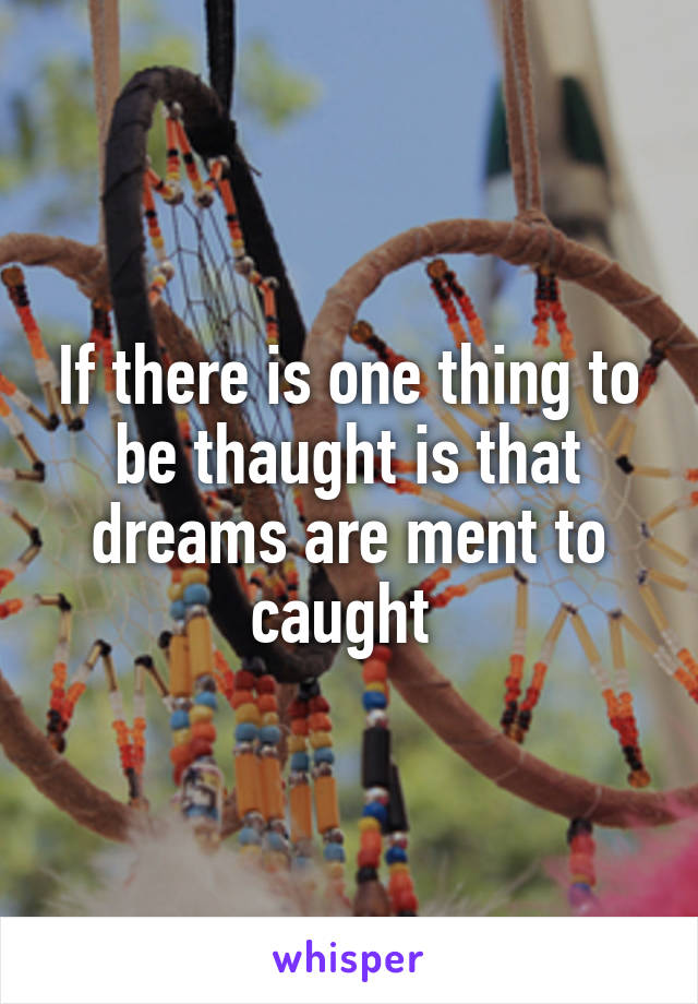 If there is one thing to be thaught is that dreams are ment to caught
