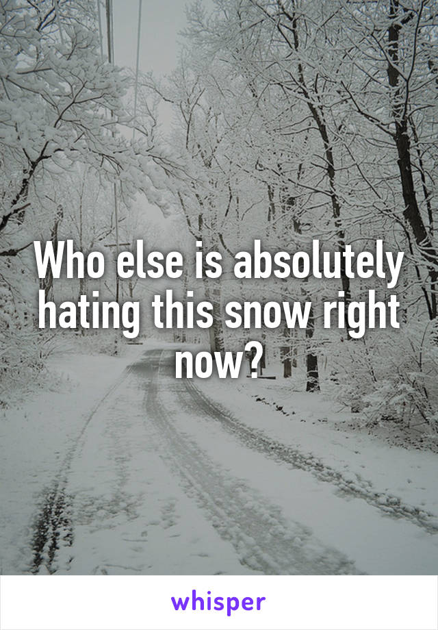 Who else is absolutely hating this snow right now?